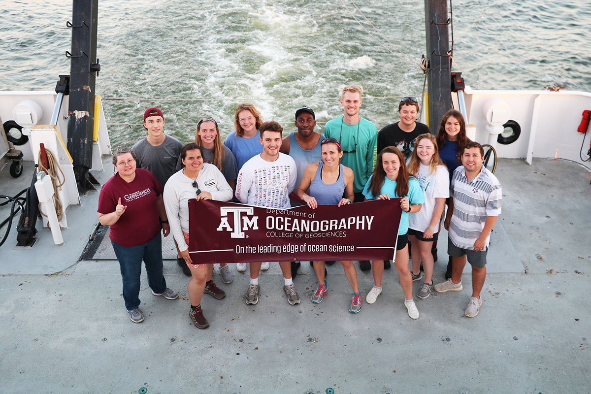 The Texas A&M Oceanography faculty and students who sailed on the inaugural Schade Cruise. (Photo courtesy of Dr. Chrissy Wiederwohl.)